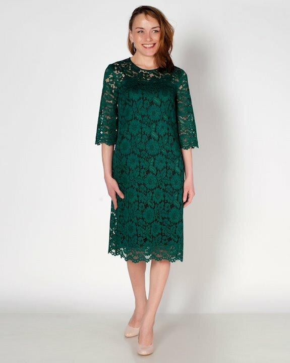 Тъмнозелена дантелена рокля с ръкав до лакътя от Ефреа.