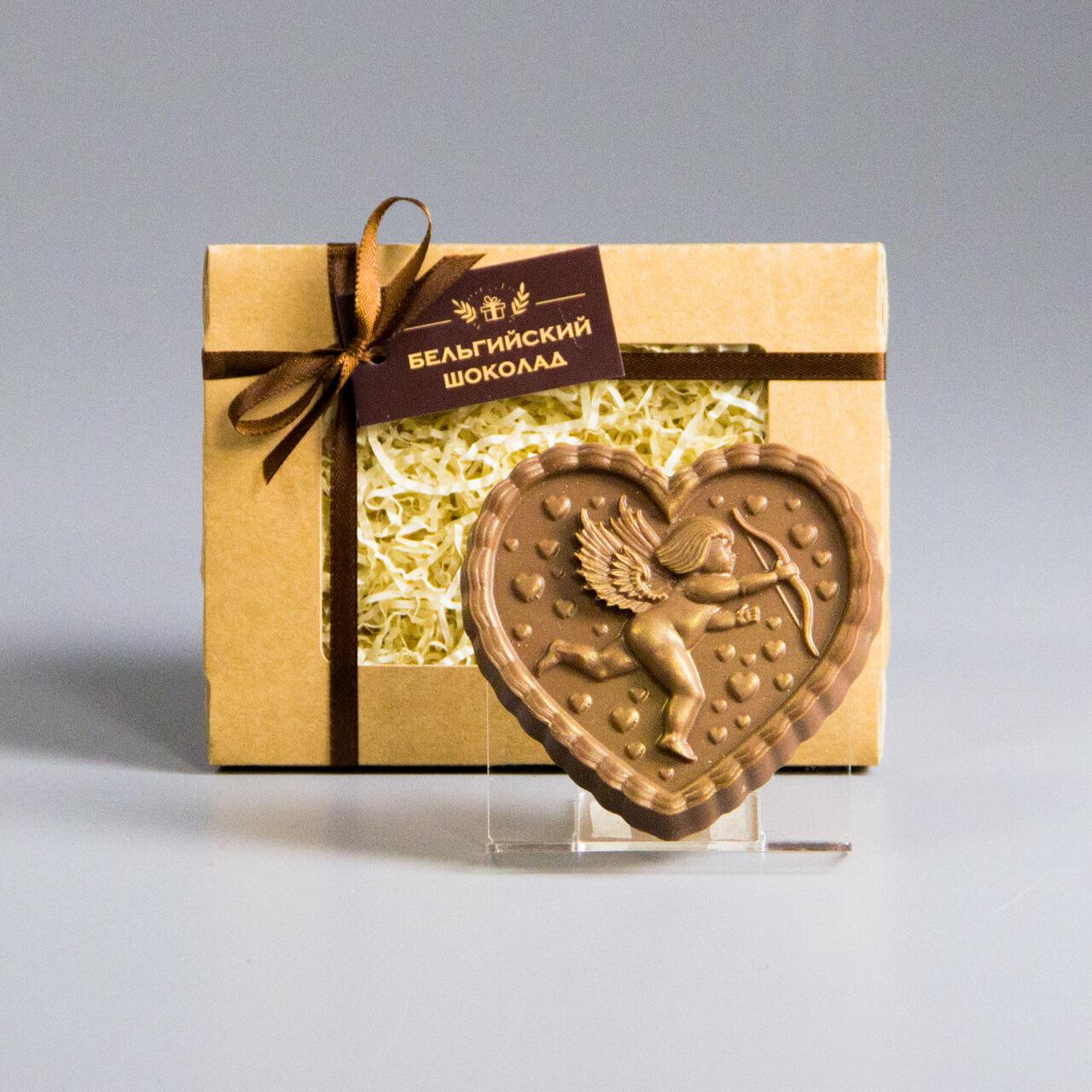 Шоколадная фигурка «Сердце с купидоном 1»