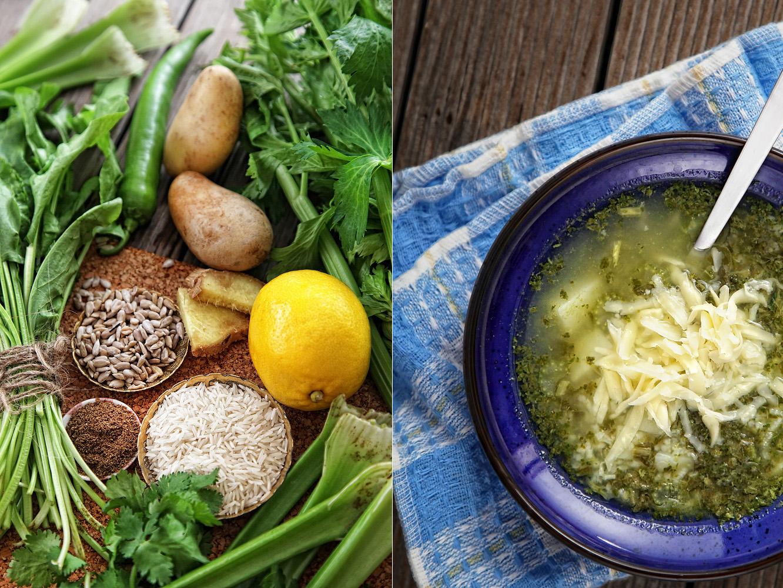 зелёный суп со шпинатом