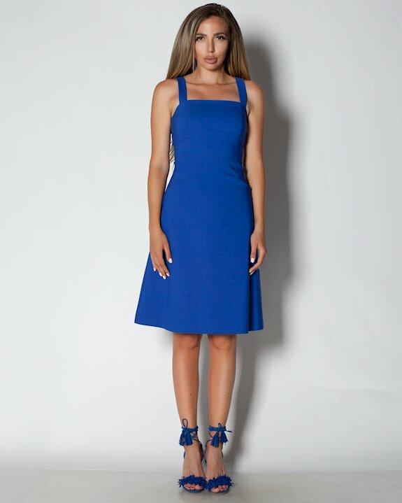 Синя дамска рокля с презрамки за лятото