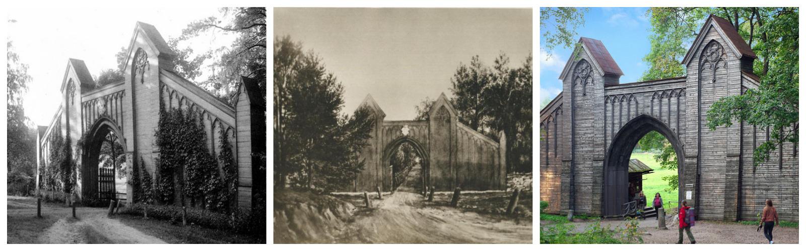 Готические ворота в усадьбе Монрепо были построены неизвестным архитектором в 1830-х годах. Были утрачены и воссозданы в 1950-х с некоторыми изменениями.