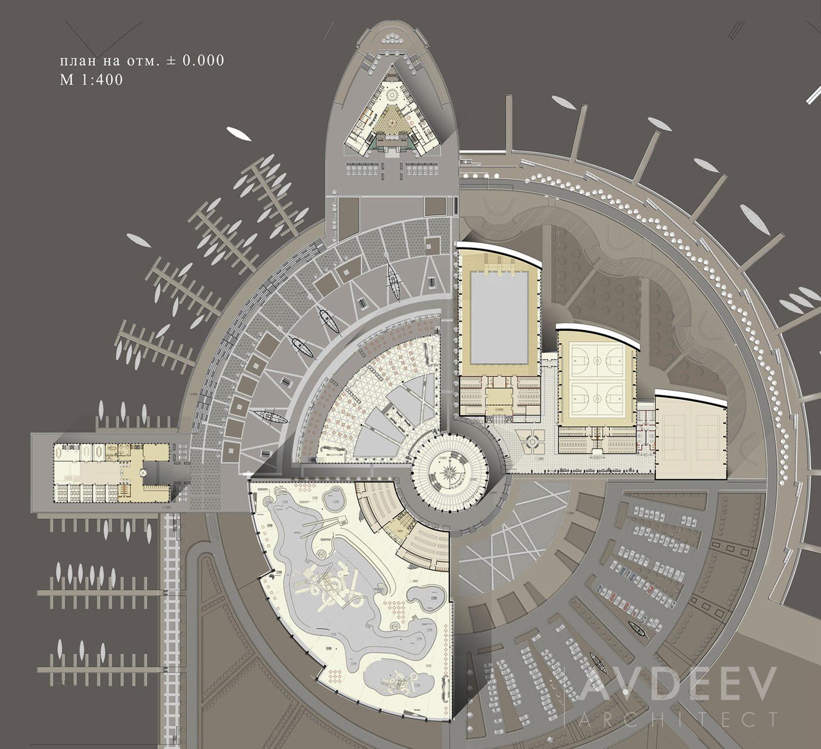 дизайн-схема  центра парусного спорта студия AVDEEV ARCHITECT