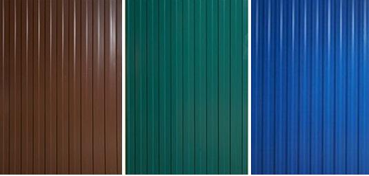 Цветовые решения из профлиста: коричневый, зеленый мох, лазурный