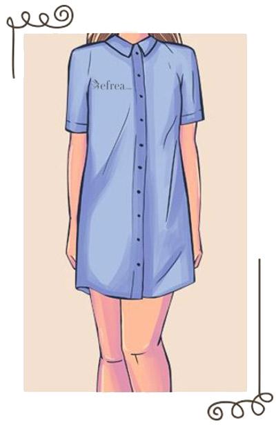 Рокля тип риза с якичка и закопчаване с копчета в предната част.