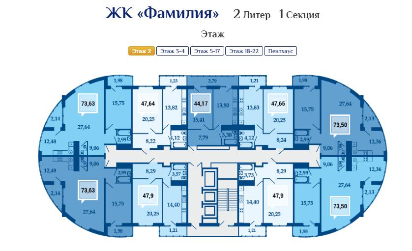 Планировки квартир ЖК Фамилия