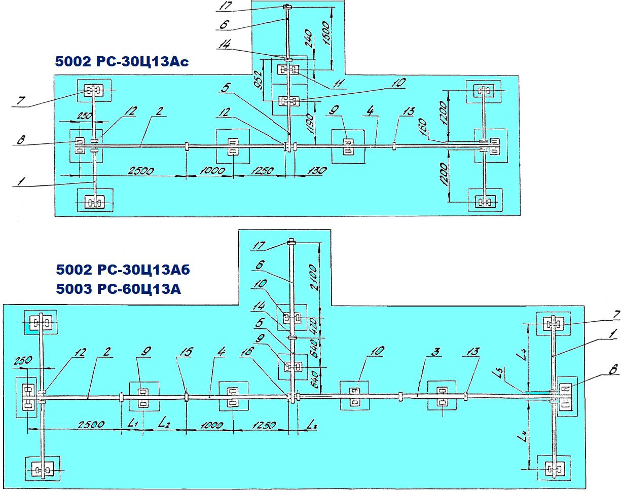 Схема весов рычажных механических  5002 РС-30Ц13А (5042РС-30ДЦ24А), 5003 РС-60Ц13А (5043РС-60ДЦ24А)