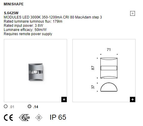 Технические параметры для светильника в окнах