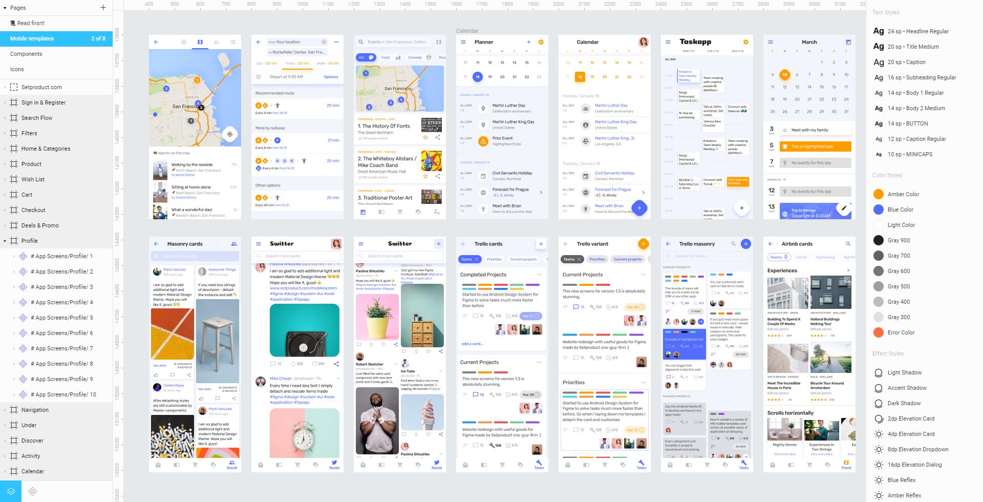 Figma Android UI kit - app templates