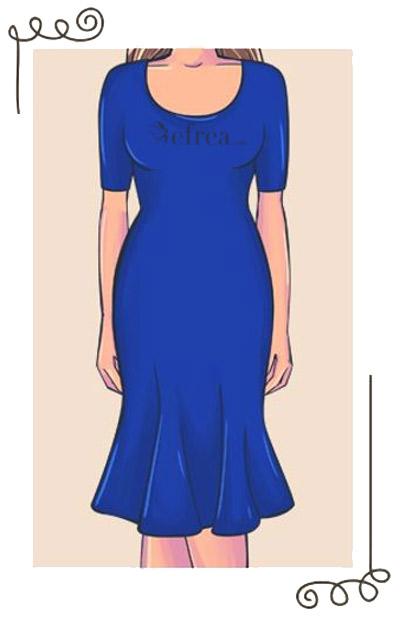Още един вид вталена рокля. Впечатление прави зоната на подгъва, която е изработена в стил камбанка и привлича вниманието към добре оформените крака.