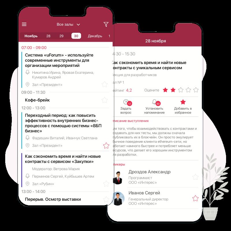 Мобильное приложение для мероприятий. Программа мероприятия в приложении