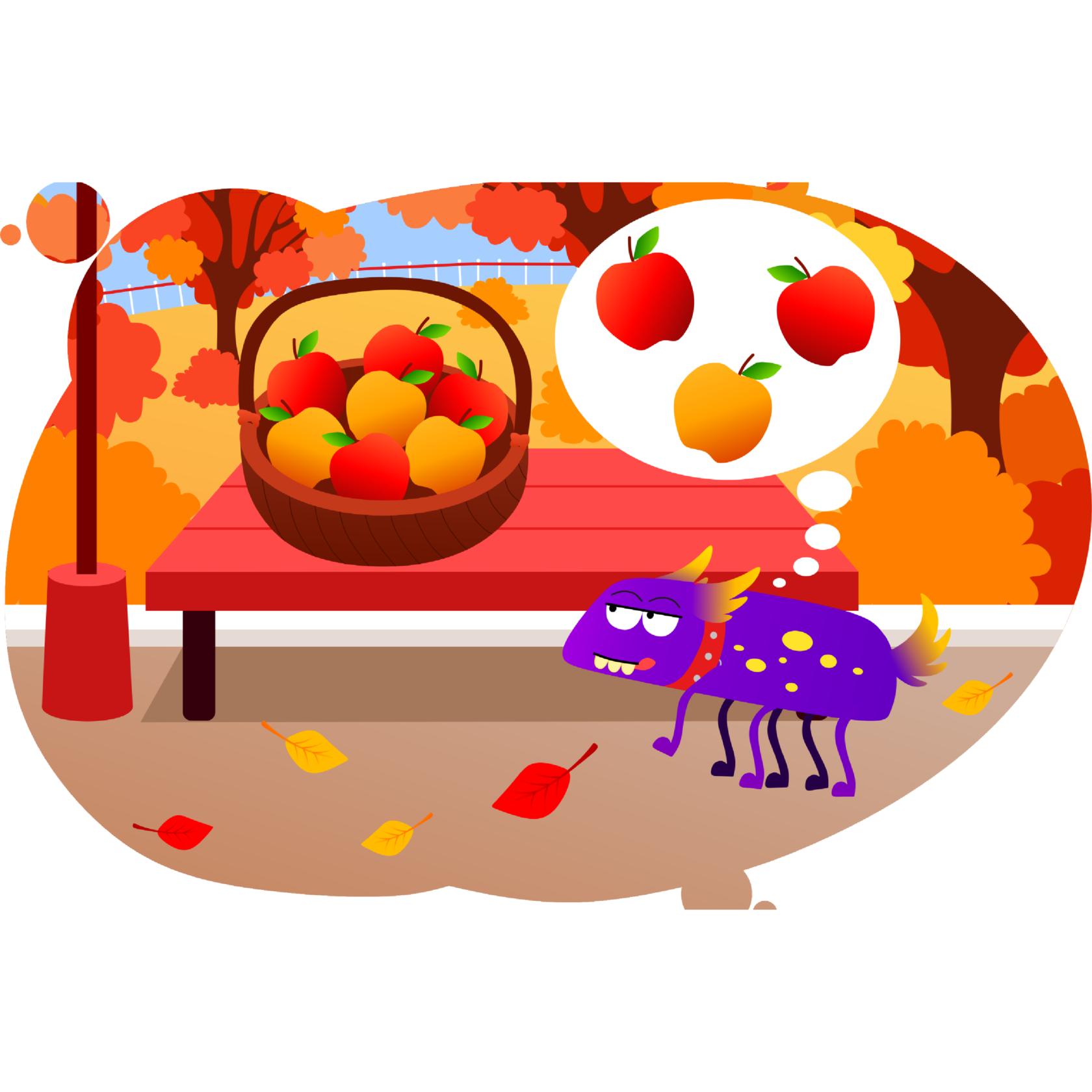 Минус-кусь и сложение двузначных чисел на яблоках