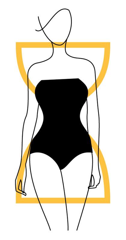 Дамска фигура тип пясъчен часовник с ясно изразена разлика между обиколката на талията и ханша
