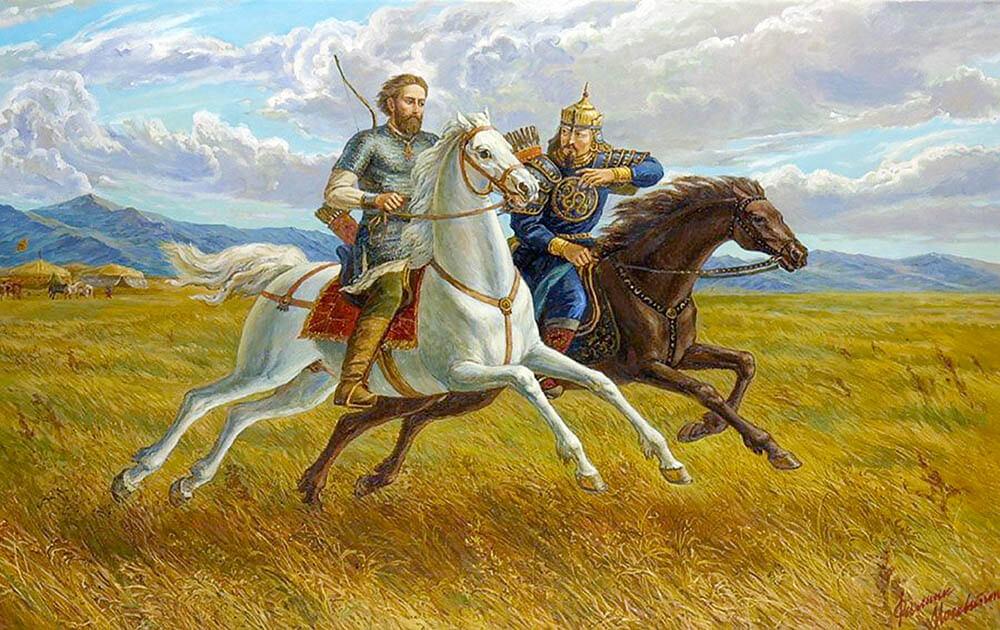 Филипп Москвитин «Св. князь Александр Невский и хан Сартак в Орде» (2002)