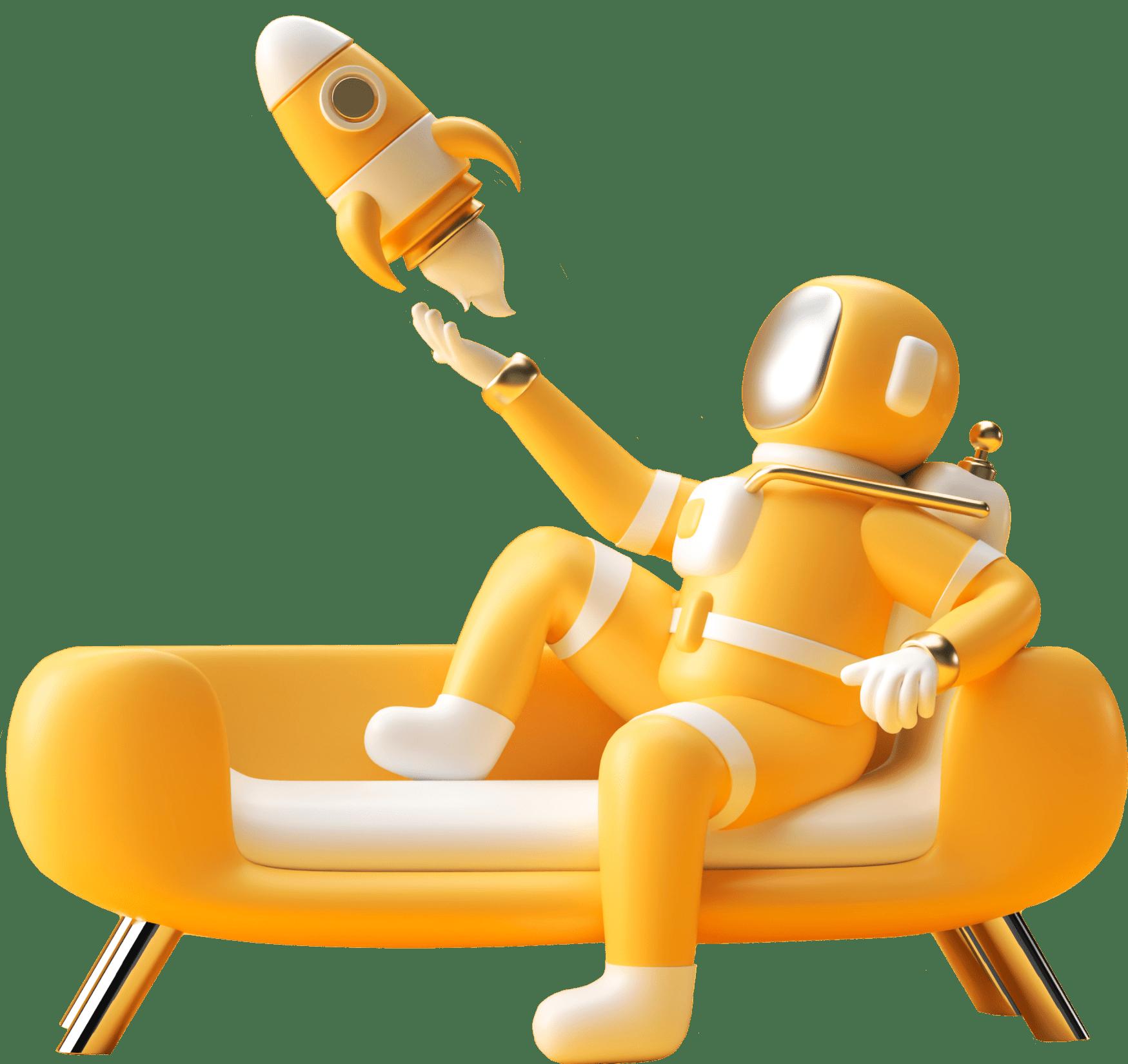 Космонавт запускает ракету