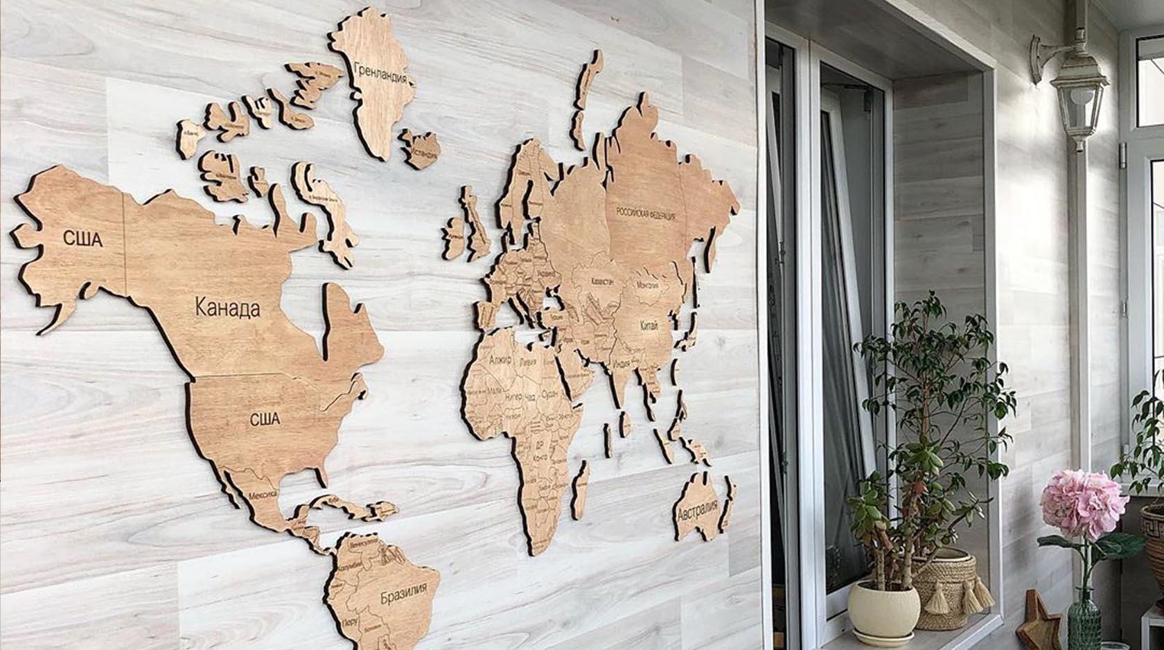 Карта мира из дерева на стену