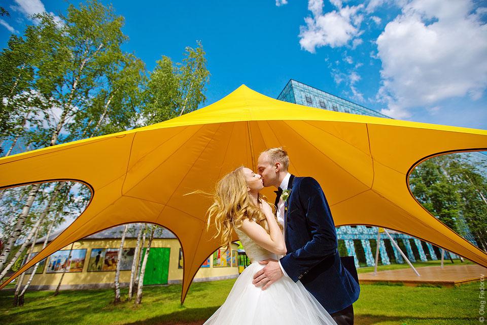 Нестандартный свадебный кадр в Упсала-парке