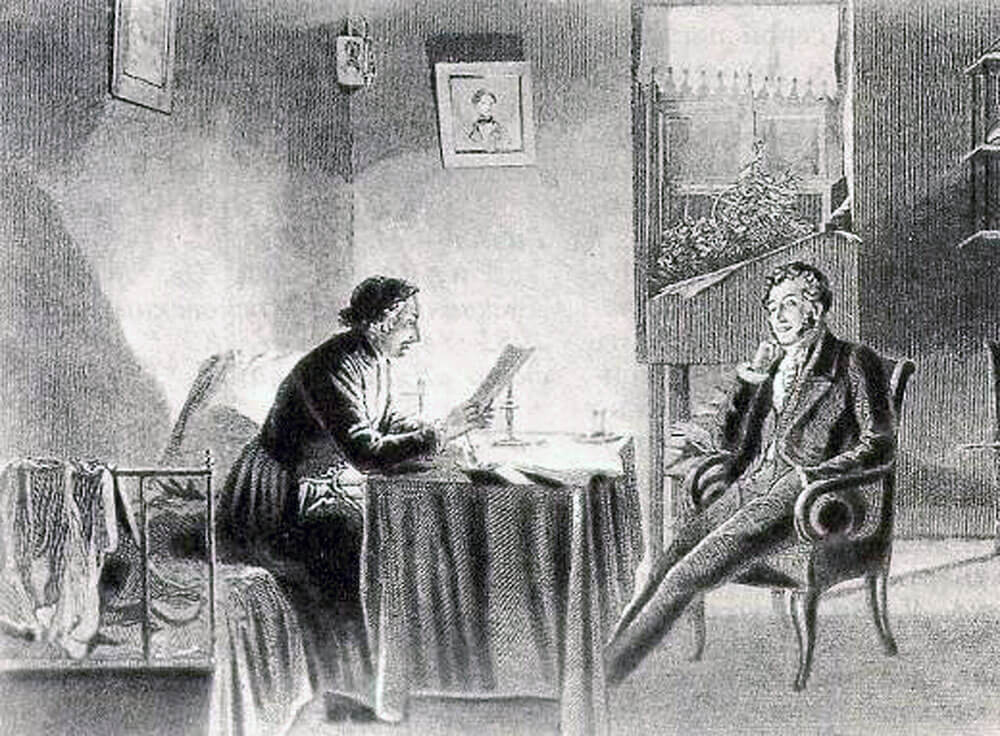 Михаил Клодт «А. С. Пушкин у Н. В. Гоголя» (1887).