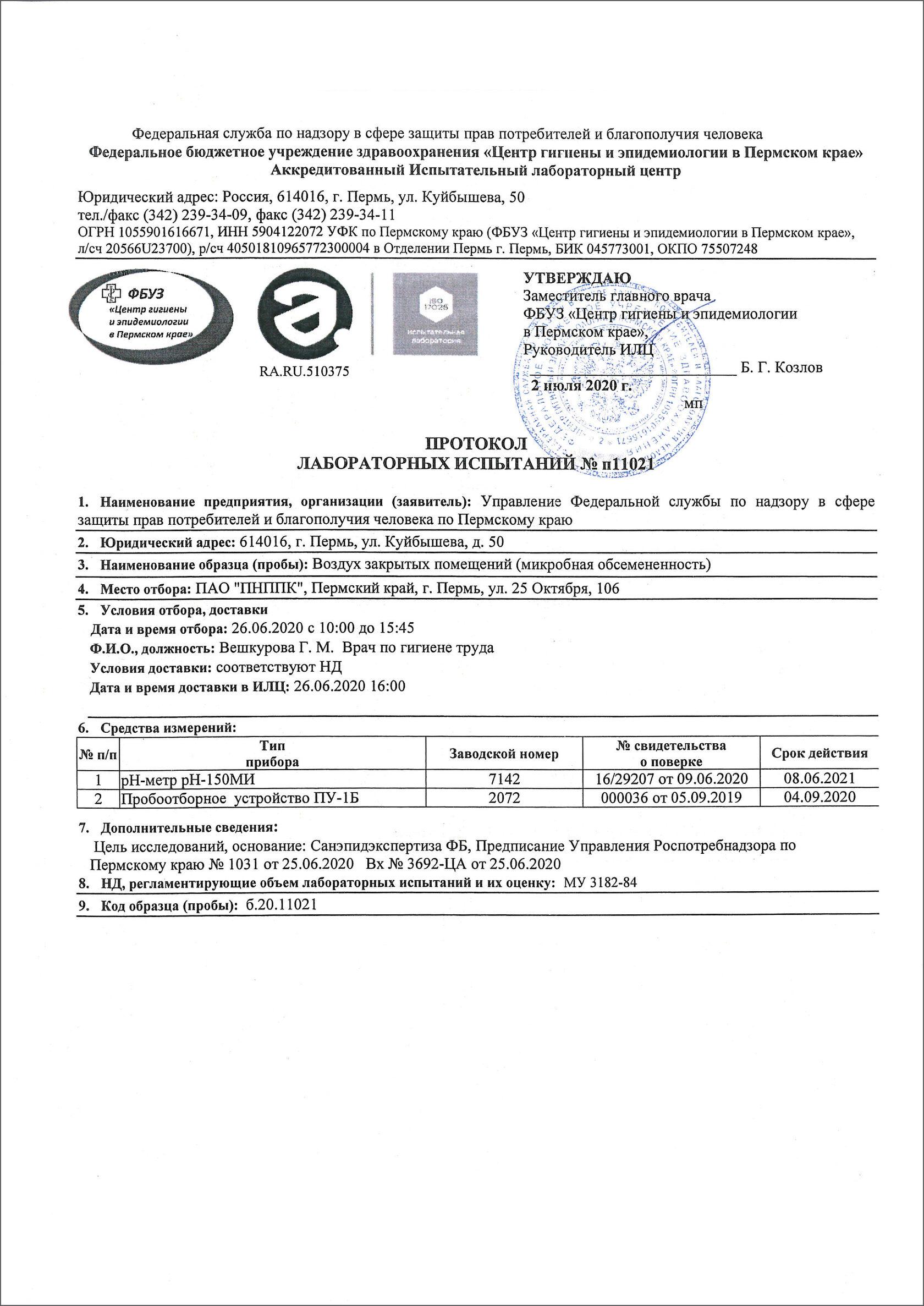 Протокол лабораторных испытаний центра гигиены и эпидемиалогии в Пермском крае