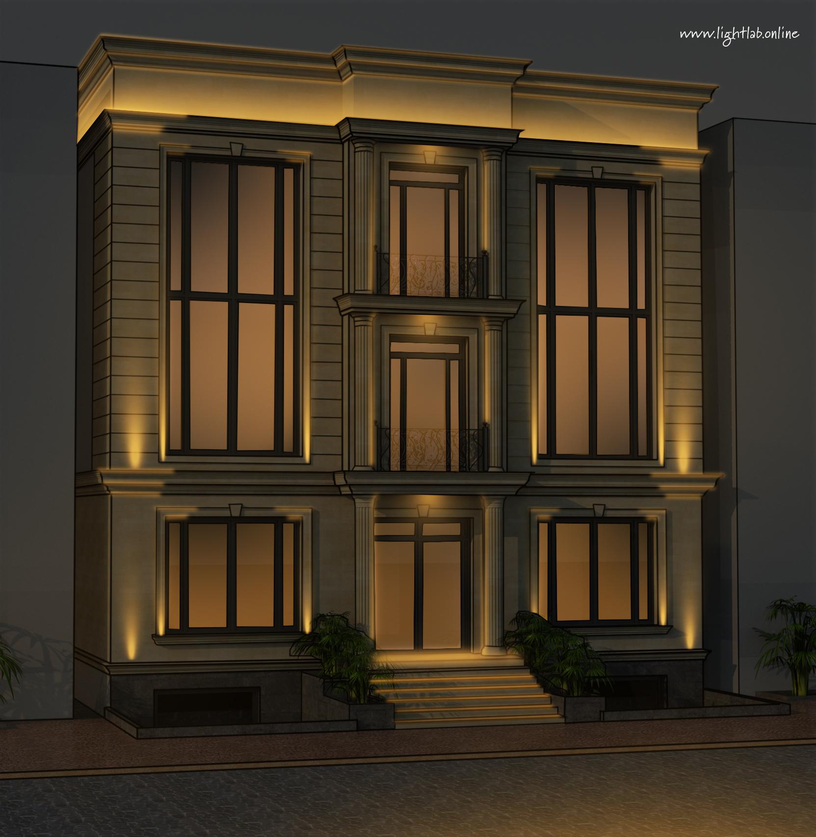 Эскиз фасадного освещения