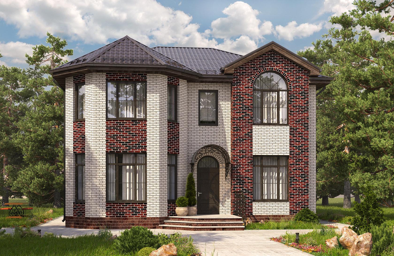 красивые двухэтажные дома фото проекты из кирпича могу своим