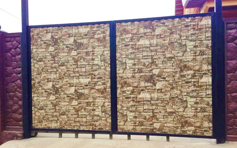 Распашные ворота из профнастила цвет камень