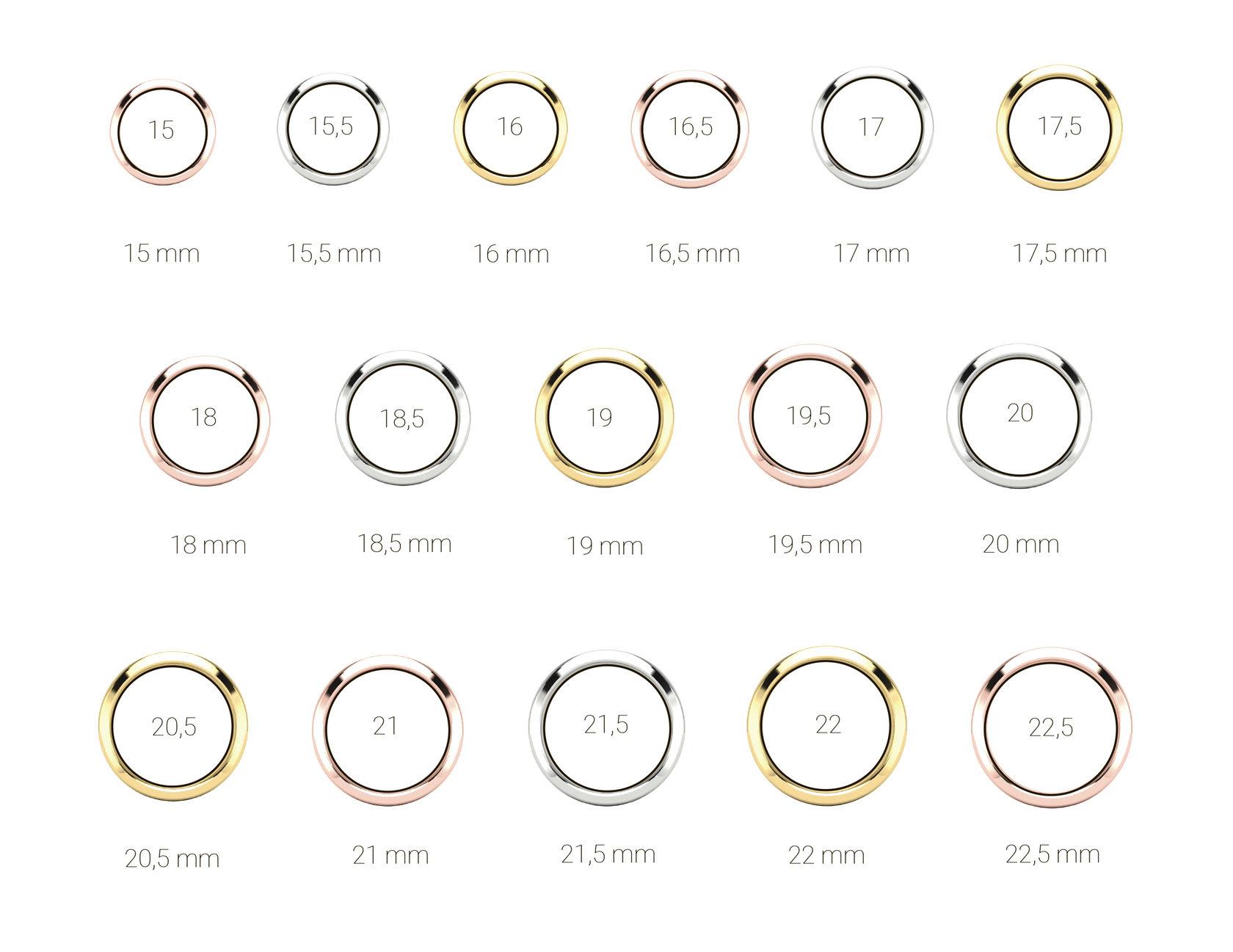 Таблица размеров обручальных колец