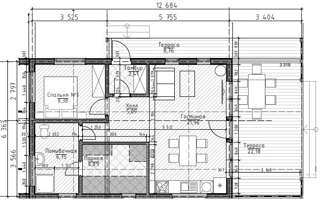Планировка LATO-60 SAUNA PLUS 3,4 м и крытая галерея вариант 1