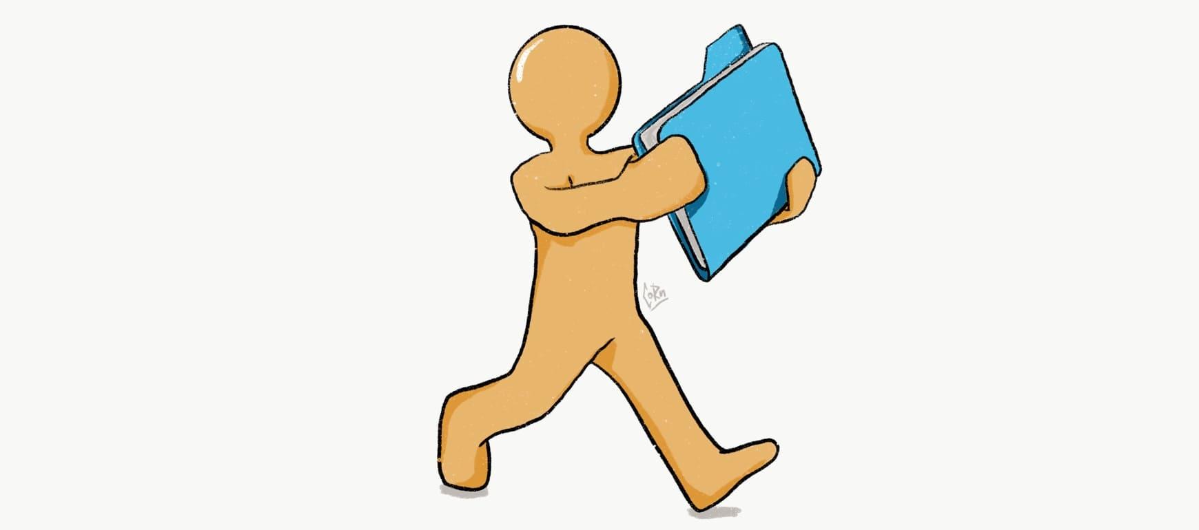 человек с папкой документов рисунок