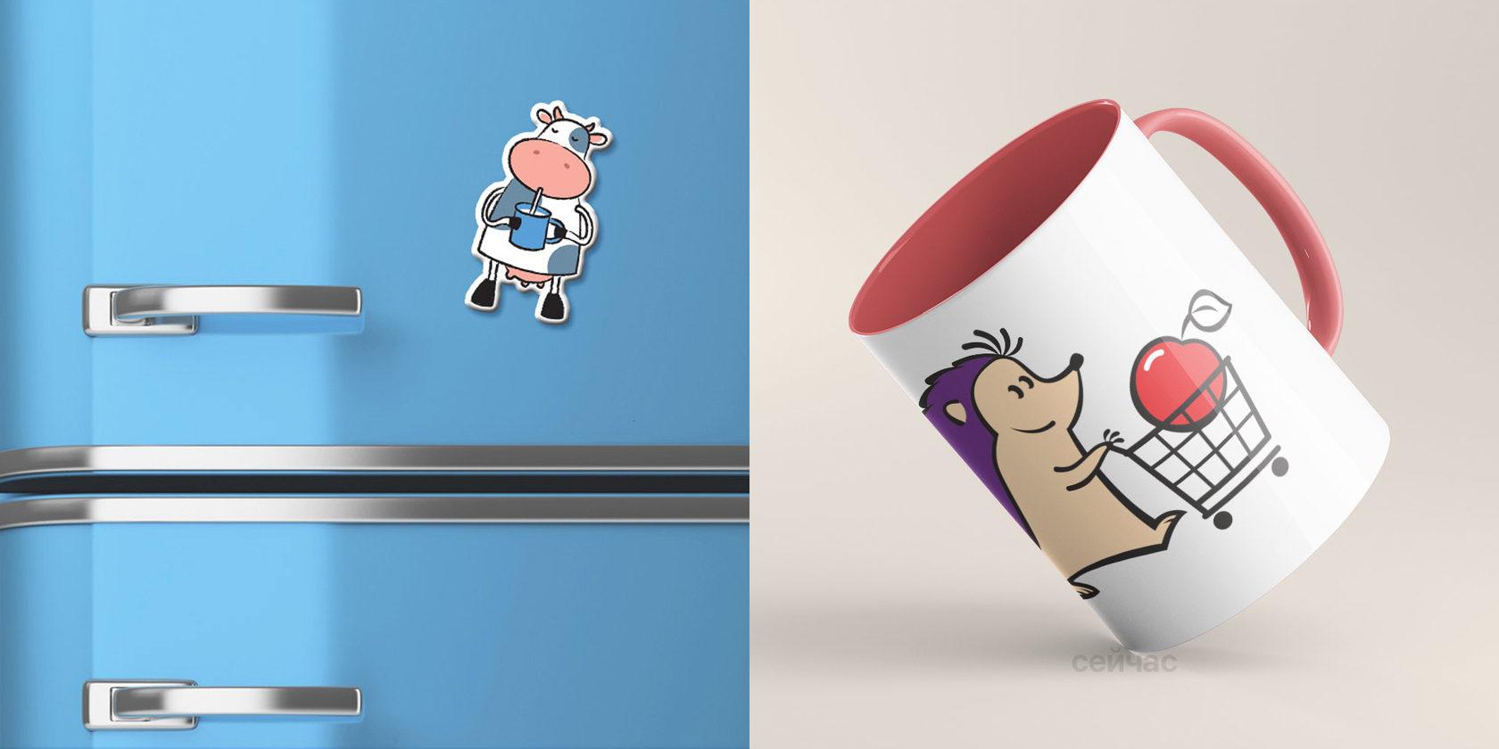 Слева — коровка гедонист Сливка для молочных продуктов, справа — ежик-талисман для сети продуктовой сети «Ходидей-Классик»