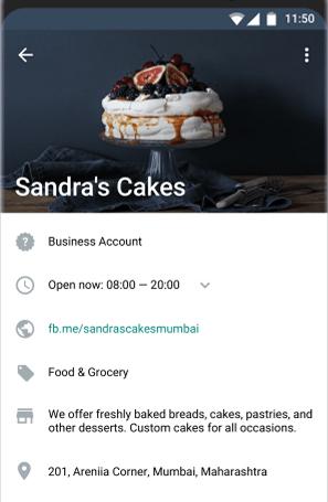 Так выглядит описание в профиле компании WhatsApp Business