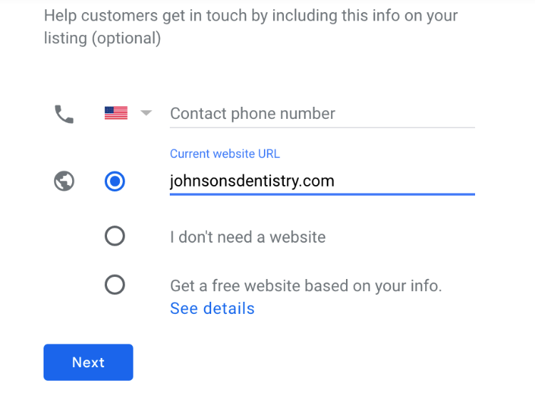 add contact number or webpage