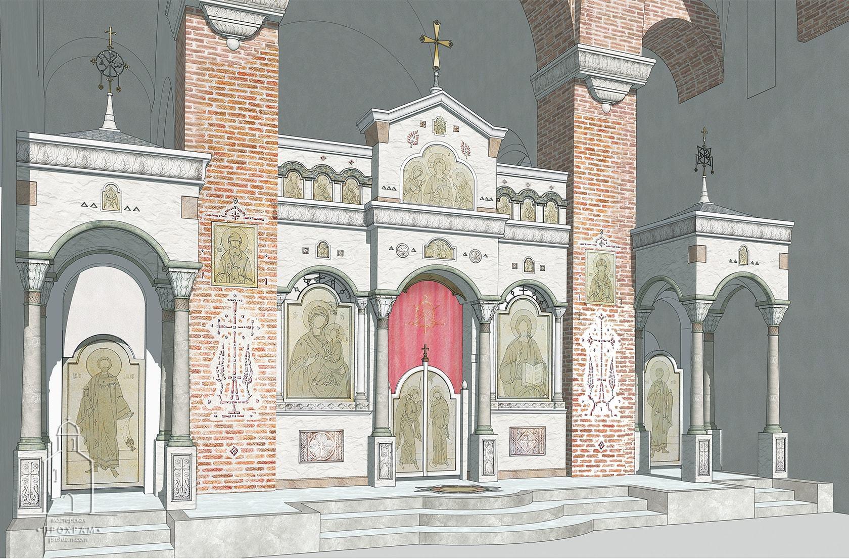 проект иконостаса, проектирование православных храмов, архитектурное бюро мастерская, храм в честь святителя Спиридона Тримифунтского, иконостас для храма свт. Спиридона