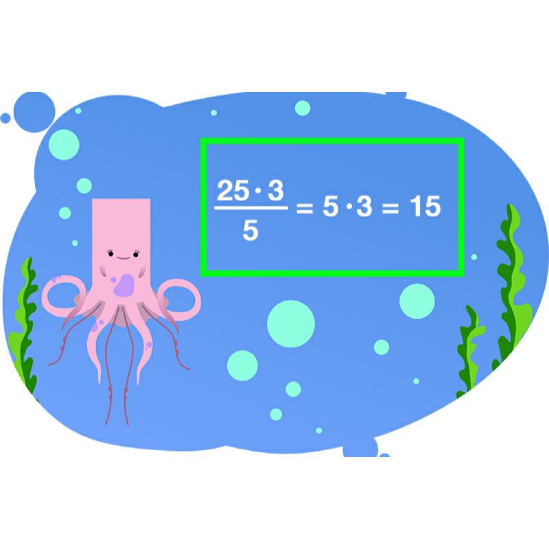 Осьминожек показывает как находить дробь от числа