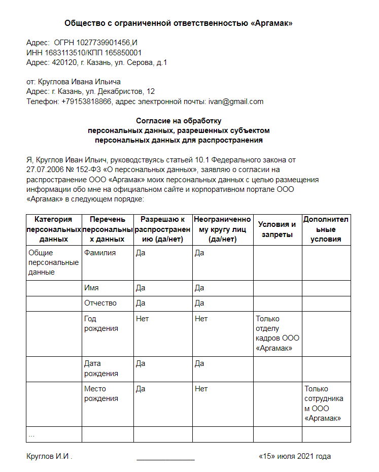 Пример образца согласия