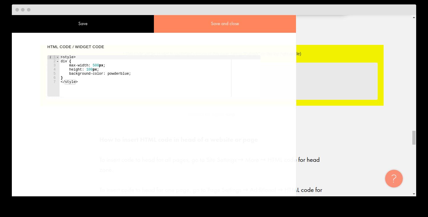 How to insert html code