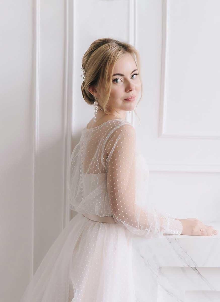 Свадебный стойкий макияж для серых глаз для невесты Екатерины