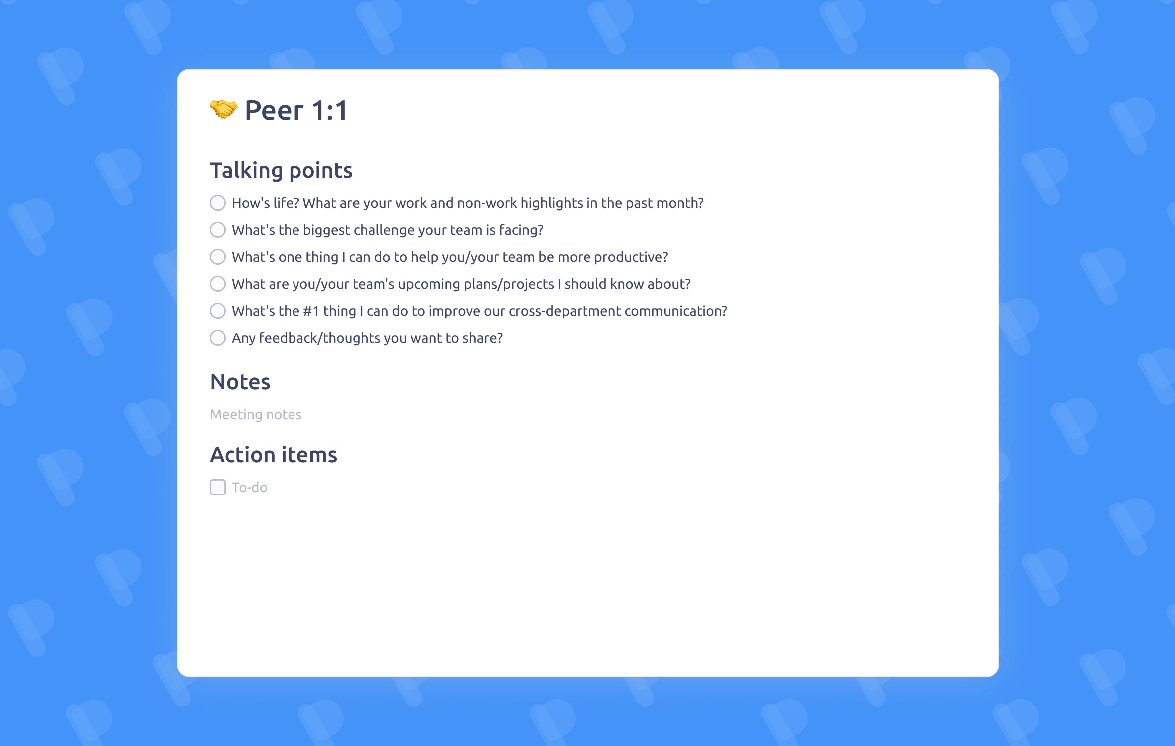 Peer One-on-One meeting template