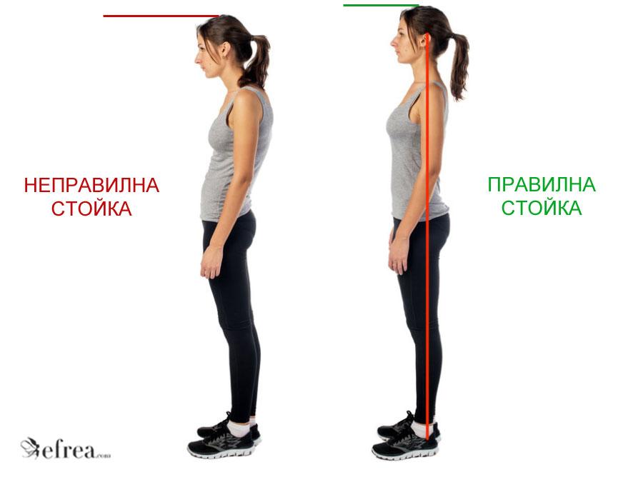 Правилната поза с изправен гръб, рамене и гордо вдигната глава Ви прави по-високи и съответно изглеждате по-слаби.
