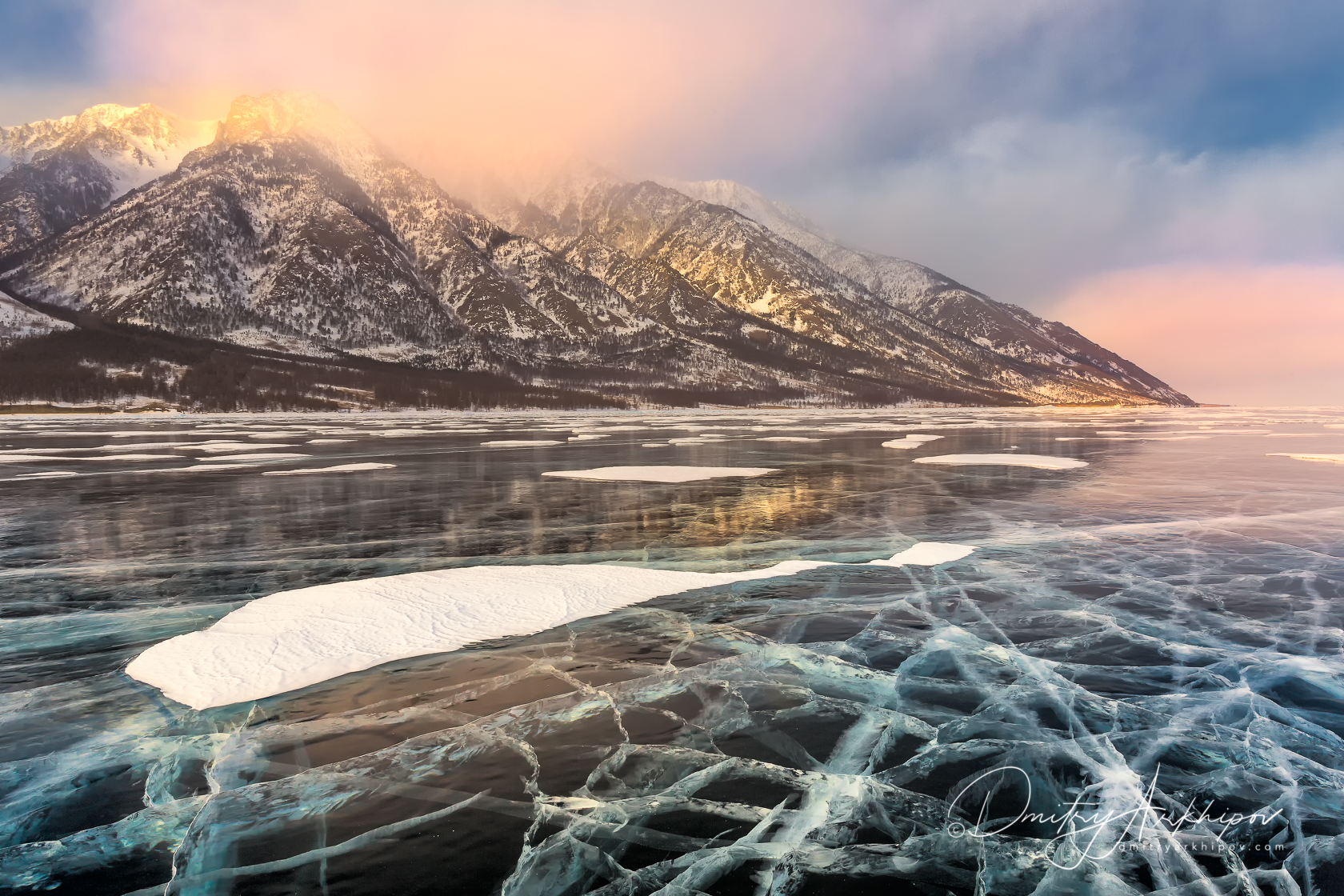 Beautiful ice on the Baikal in Winter
