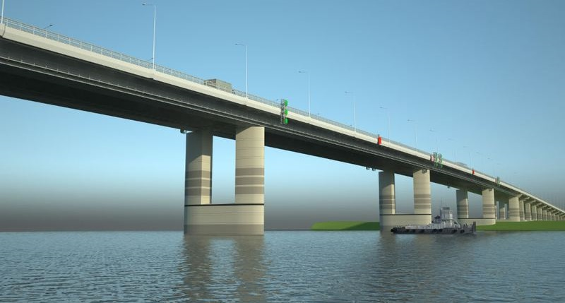 Проект обхода Барнаула предусматривает возведение нового, третьего по счету, моста через р. Обь длиной 2,4 км (коллаж: КГКУ «Алтайавтодор»)