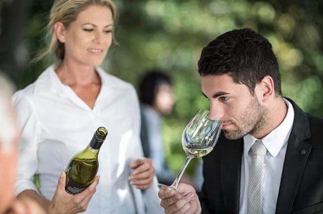 Tasting wine in the restaruant