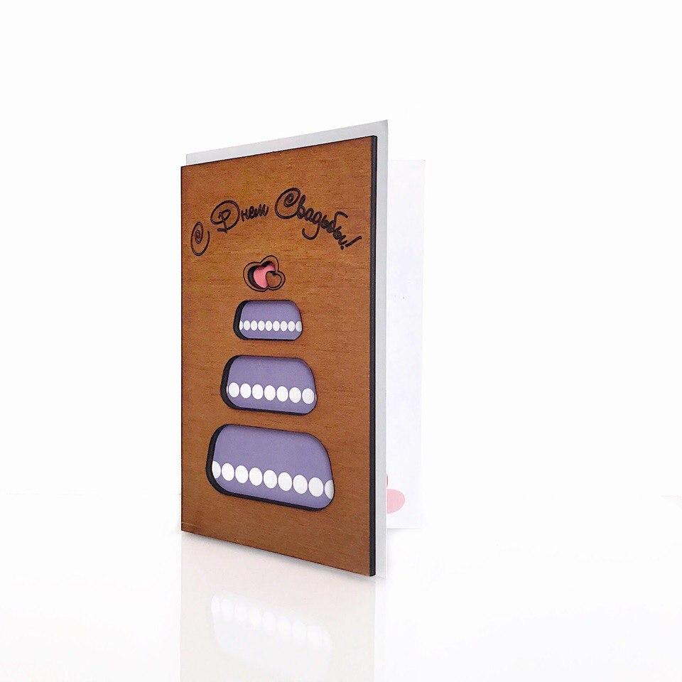 """Деревянная открытка WOODCARD.BZ """"Свадебный торт"""""""