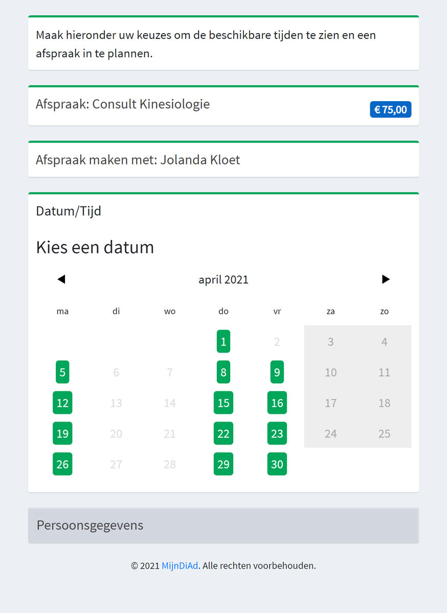 Afspraken inplannen schema Jolanda Kloet
