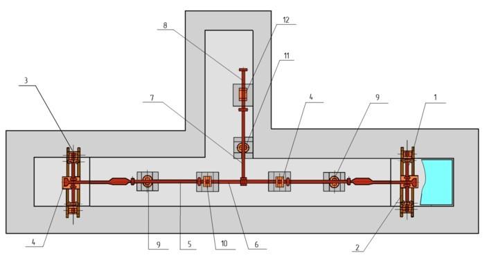 Схема механических рычажных вагонных (железнодорожных)весов ВО2002, ВО2036, РС-150Ц13, 5044РС-150ДЦ24В