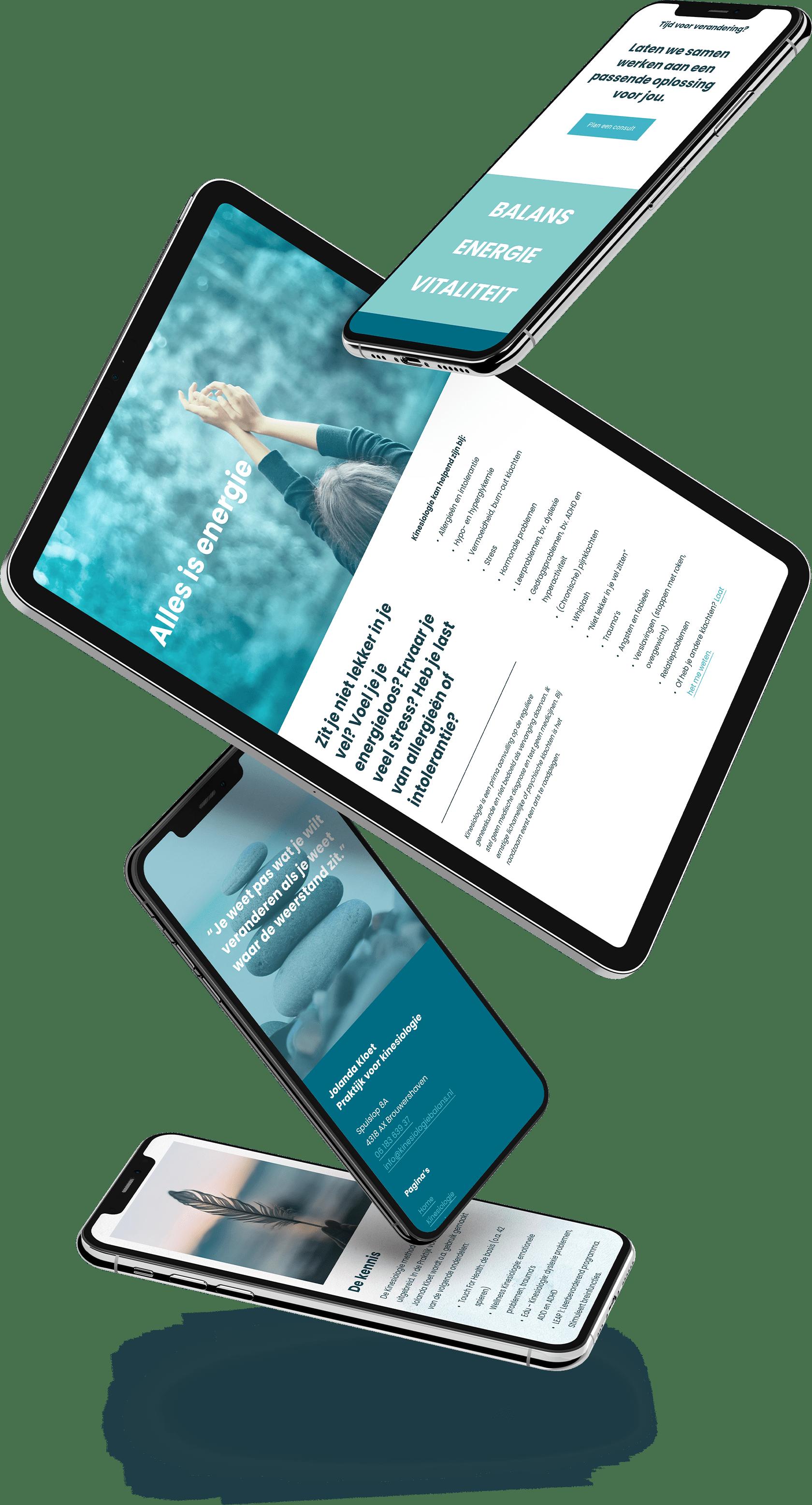 Website ontwerp op mobiel en tablet variant voor Jolanda Kloet