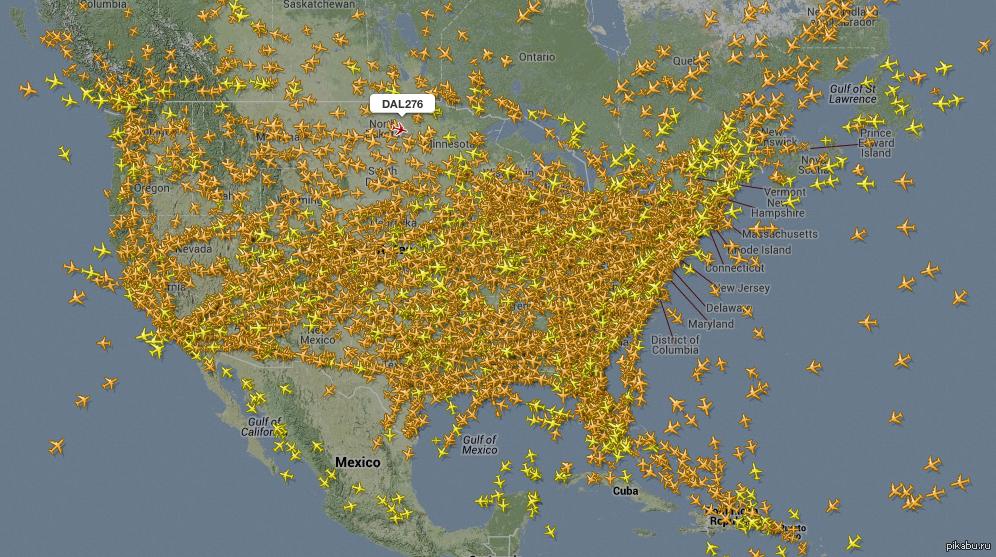 Авиапоток в США. Скрин с flightradar24