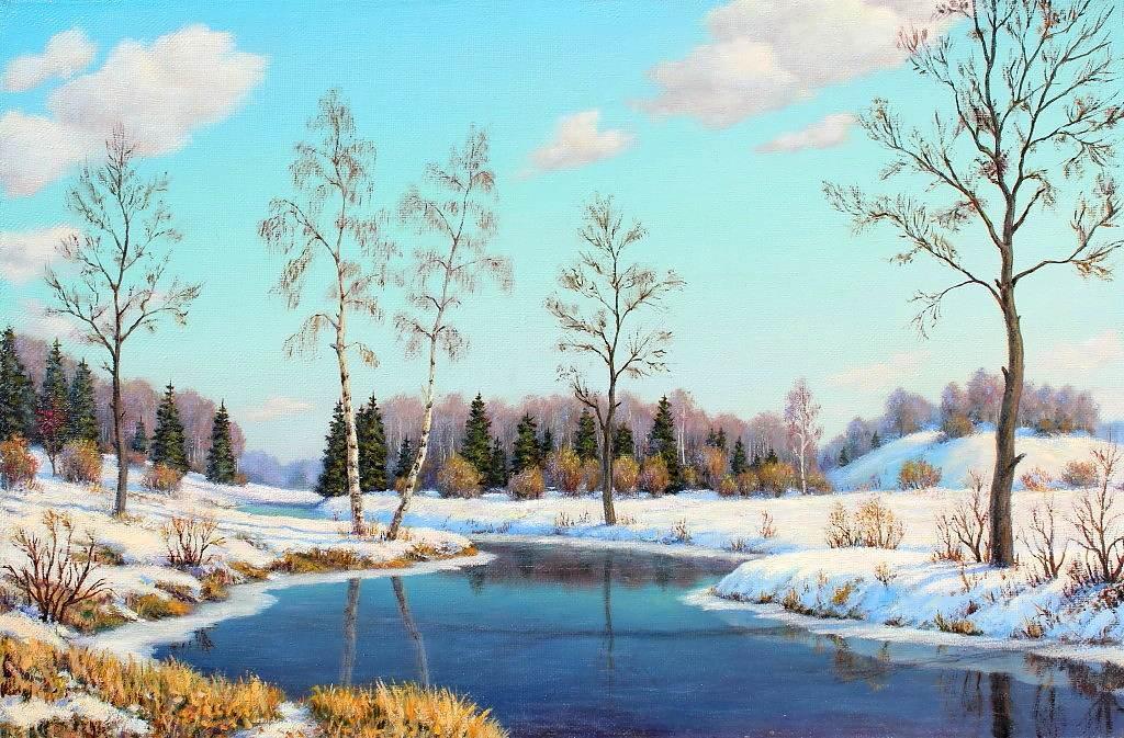Картинка с изображением раннего весеннего пейзажа