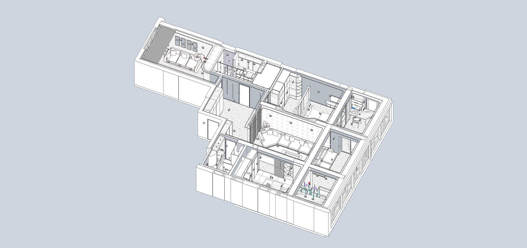 3D модель дизайна квартиры с использованием библиотек с разных ресурсов для Revit