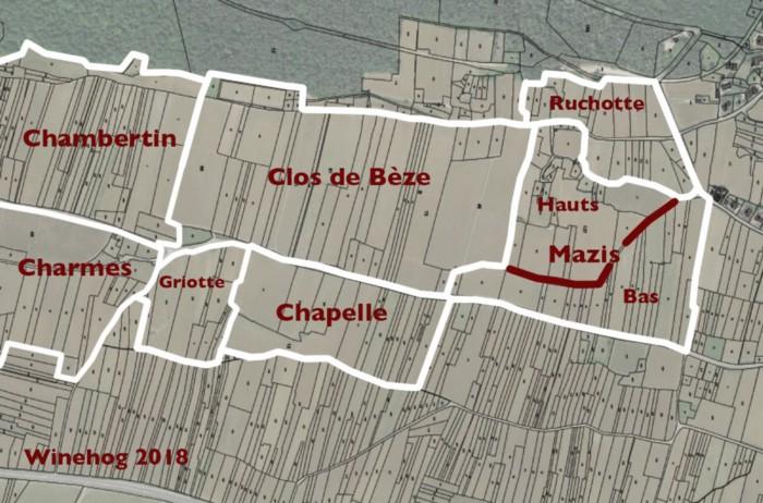 Mazis-Chambertin Grand Cru map