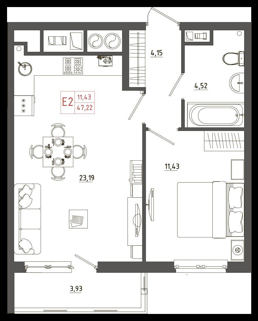 Двухкомнатные квартиры, евро-2, смарт-квартира